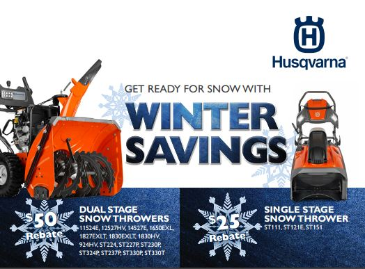 Husqvarna November 2014 Snow Blower Rebate