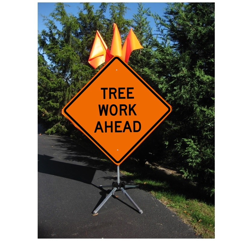 Tree Work Ahead 48 X 48 Roll Up Sign Arborist Supplies